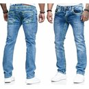 Herren Jeans Hose Denim Light-Blue KC-Black Washed...