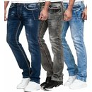 Herren Jeans Hose Denim- Washed Straight Cut Regular...