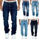 Herren Jeans Hose Denim- Washed Straight Cut Regular Stretch Dicke Naht -