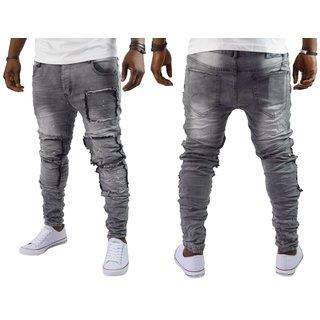 Herren Jeans Hose Destroyed Denim Grau Skinny jenas Streetwear ST-7022 NEU 18DE