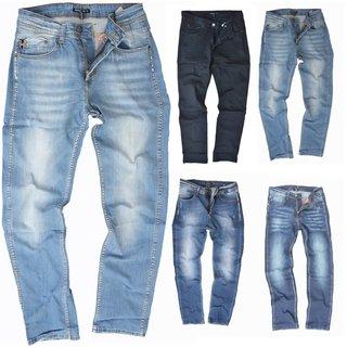 Herren Jeans hose Stretch Straight-Cut Gerades Bein Schwarz Grau Blau