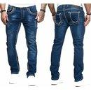Herren Jeans Hose Washed Straight Cut Regular Stretch NÄHTE JEANS HOSE