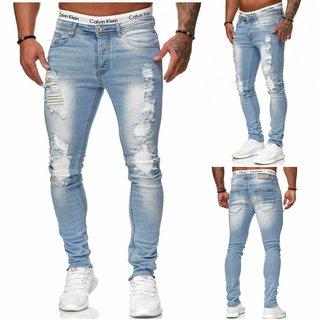 Herren Jeanshosen  Stretch Hose  Slim fit   SKINNY Jeans Blau  Weiss