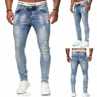 Herren Jeanshosen  Stretch Hose  Slim fit   SKINNY Jeans Blau  Weiss 2019