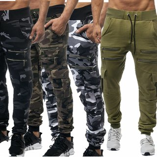 Herren Jogginghose Camouflage Sporthose Trainingshose Hose Zipper NEU 829 DE-020