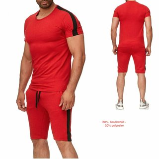 Herren Shorts TRANNINGAZUG  SPORTANZUG i Kurze Hose Vintage Short  516  & 1178 ox516-ox516-red-black- 2XL