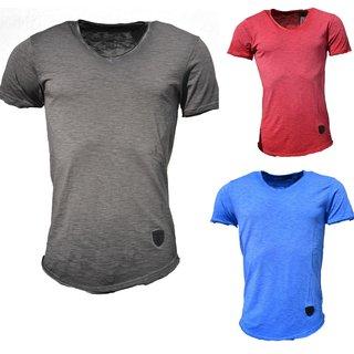 Herren Slim-Fit Long-Tee V-Neck Basic T-Shirt V-Ausschnitt 1-770 Hemd Poloshirt