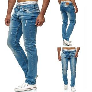 Herren SLIMFIT Stretch Hose pants JEANSHOSEN SUPER SKINNY Jeans BLAU OMG 2713.