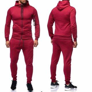 Herren Trainningazug  Jogginganzug   Jacke Sportanzug  Anzug Hoodie 0964 ROT