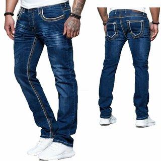 iProfash  Herren Jeans Hose Denim Black Washed Straight Cut Regular Stretch 5025