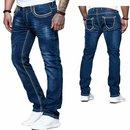 iProfash  Herren Jeans Hose Denim Black Washed Straight...