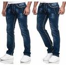 Iprofash Herren Jeans Hose Washed Straight Cut Regular Stretch