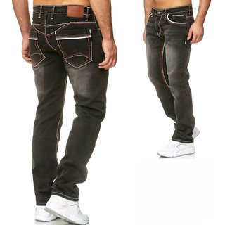Iprofash Herren Jeans Hose Washed Straight Cut Regular Stretch Grau-Rot-Weiss