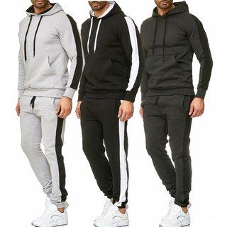 iProfash Jogginganzug Trainingsanzug Sweat Anzug Hose Sportanzug weiss schwarz 9