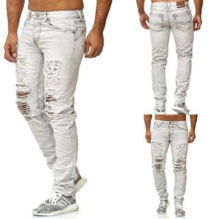 Jeans HERREN JEANS DESTROYED SKINNY STRETCH FIT  RISSE   HOSE CUT  GRAU BLAU