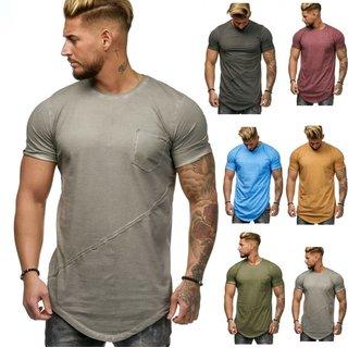 Oversize Herren Vintage T-Shirt Basic Shirt Round Neck Zipper  SHORT  2018 9032
