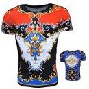 T-Shirt Kurzarm Shirt Mit Motiv Rundhals Slim  Herren. 1364