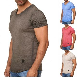 WOW. ! Oversize Herren Slim-Fit Long-Tee V-Neck Basic T-Shirt V-Ausschnitt 1-770
