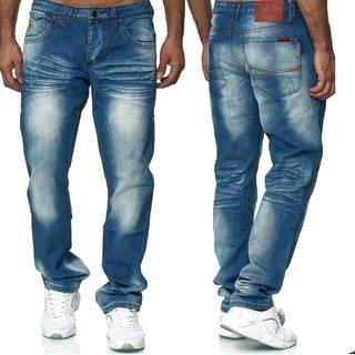 Jeans  Regular Straight Fit Hose Hellblau / Blau NEU Blau W34/L34