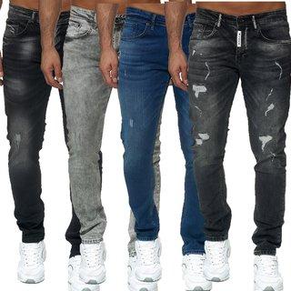 Herren Jeanshosen  Stretch Hose  Jeans  Slim fit Regular  blau schwarz Weiss