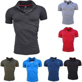 Herren Poloshirt Basic Kontrast Kragen Kurzarm Polohemd T-Shirt