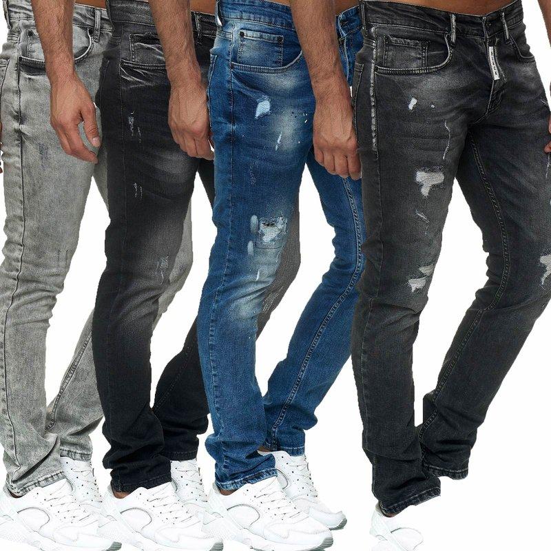 Designer Herren Jeans Hose Basic Stretch Jeanshose Regular Slim NEU