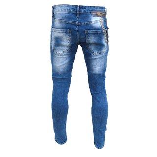 Designer Herren Jeans Hose Slim Skinny Fit Stretch Röhrenjeans Blau Grau Schwarz