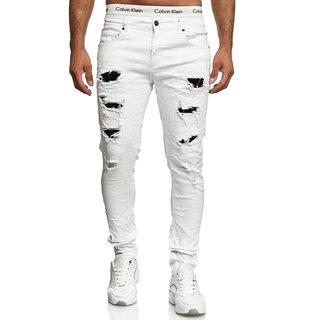 Herren Jeanshosen Stretch Hose Jeans  WEISS