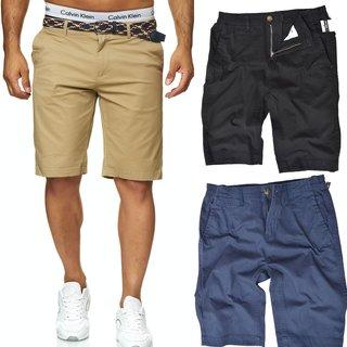 Herren Stretch Chino Shorts Slim Fit Bermuda Kurze Hose Strecken-Baumwolle