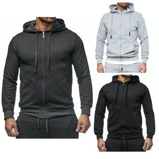 Kapuzenpullover Pullover Sweatshirt Sweatjacke Hoodie Zip Basic Herren