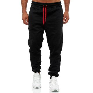 Herren Jogginghose  Sporthose Trainingshose Slim fit 701 NEU HOSE       -    SCHWARZ  /  ROT  S