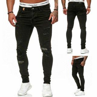 Herren Jeanshosen Stretch Hose Jeans Slim fit SUPER SKINNY Jeans    OMG   9540 Schwarz