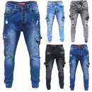 Herren Cargo Jeans Regular Slim Denim Hose Destroyed