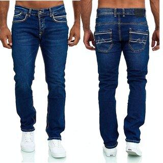 HERREN STRAIGHT FIT JEANS CHINO HOSE DICKE NAHT Stretch Jeanshose Regular
