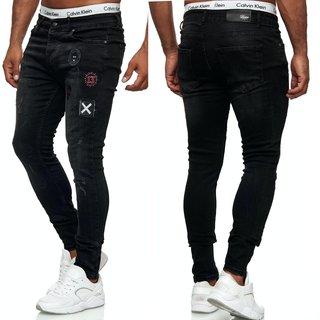 Herren Jeans Hose SCHWARZ Stretch Jeanshose Regular Skinny Slim NEU