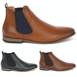 Herren Chelsea Boots Stiefel Holzoptik Business  Blockabsatz