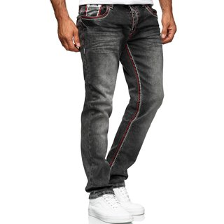 Herren Jeans Hose Denim- Washed Straight Cut Regular Stretch Dicke W29-W44   5172