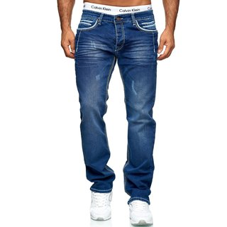 iProfash Herren Jeans Hose Denim- Washed Straight Cut Regular Stretch Dicke W29-W44 5025