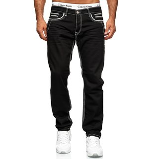 Herren Jeans Hose Denim- Washed Straight Cut Regular Stretch Dicke W29-W44 5178 5178 - SCHWARZ W40  / L32