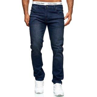 Designer Herren Jeans Hose Basic Jeanshose Comfort Fit gerades Bein BLAU : B W29 / L32