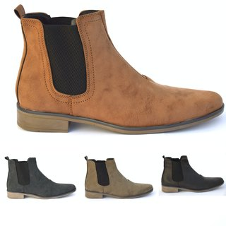 Herren Chelsea Boots Stiefel Holzoptik Business Blockabsatz Schuhe 840
