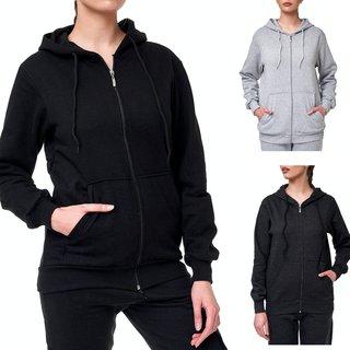 Kapuzenpullover Sweatshirt Pullover Hoodie Langarmshirt Damen Unifarben